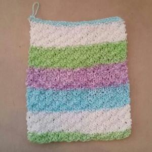 Bath - Handknit multicolor washcloth